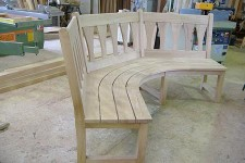 Oak curved bench